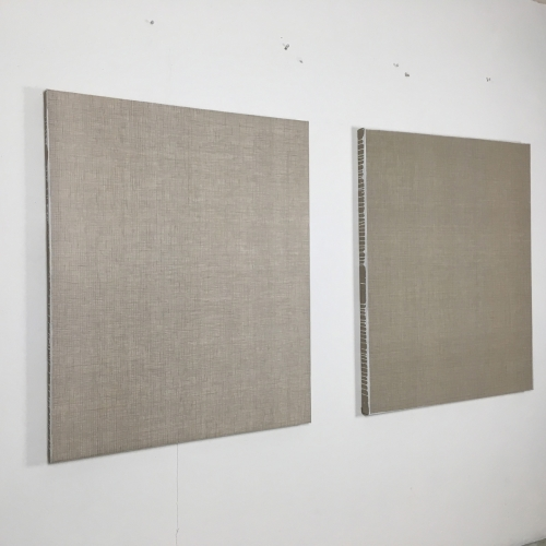 Linen #10 and #11 2018 gesso and acrylic on linen 110 × 90 cm