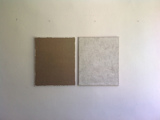 Transferred Gesso #1 2015 gesso on linen two parts  60x50cm