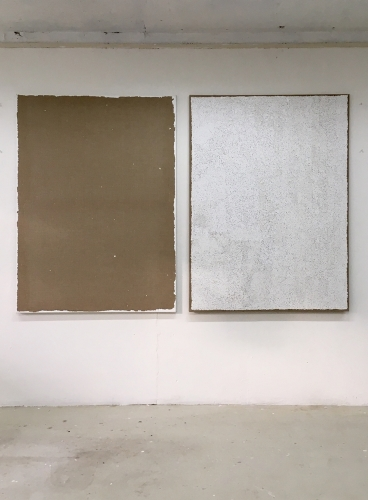 Transferred Gesso #3 2017 gesso on linen two parts 150x110cm