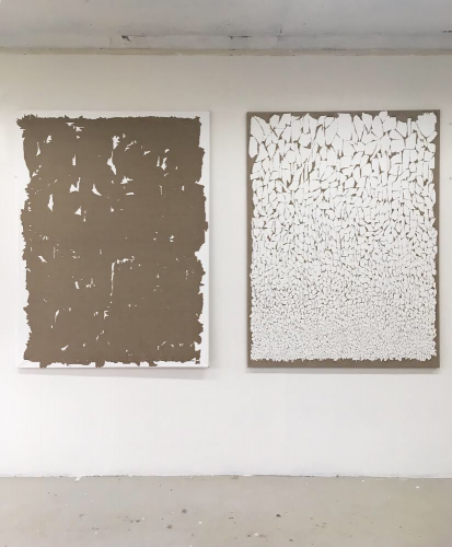 Transferred  Gesso #4 2018 gesso on linen two parts of 150x110cm