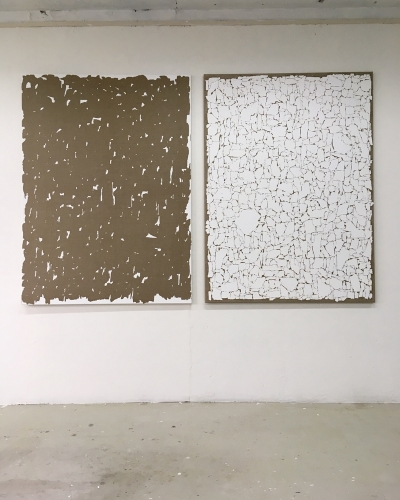 Transferred  Gesso #5 2019 gesso on linen two parts 150x110cm
